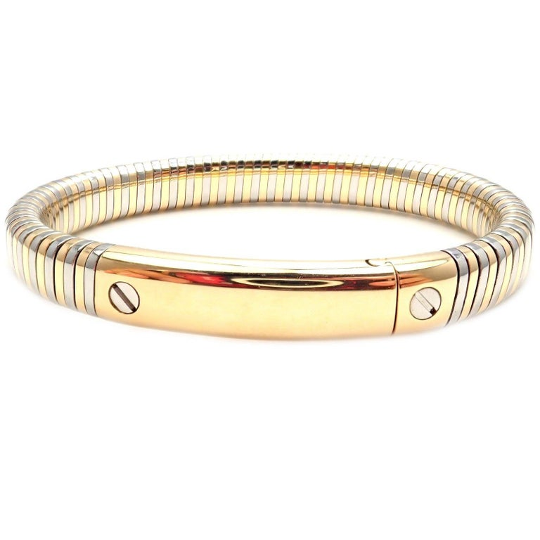 1624c1caf Vintage Van Cleef and Arpels Yellow Gold Steel Bangle Bracelet For ...