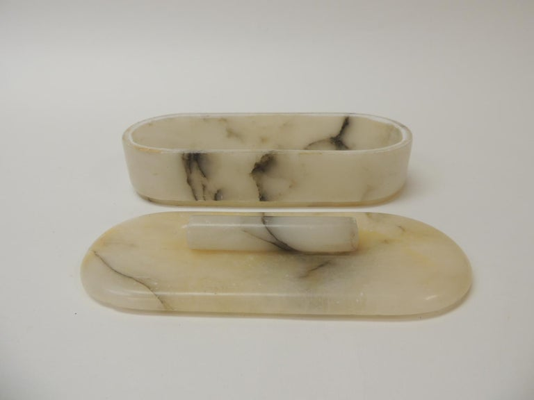 460146784a5 Hand-Crafted Vintage Vanity Handcrafted Alabaster Art Deco Oval Box For Sale