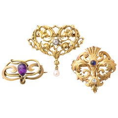 Vintage Various Art Nouveau Brooches with Gemstones