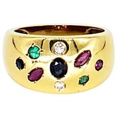 Vintage Various Shapes Ruby, Sapphire, Emerald & Diamond 18 Karat Gold Dome Ring
