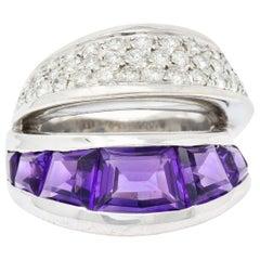 Vintage Vasari 1.52 Carat Diamond Amethyst 18 Karat White Gold Band Ring