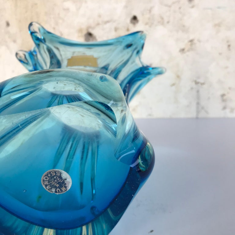 Blown Glass Vintage Vase Fratelli Toso Murano, Italy, 1950s For Sale