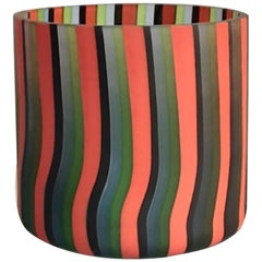 Vintage Vase with Stripes by Salviati, 1970s