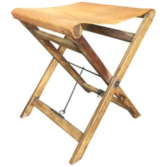 Vegetable Tanned Leather and Wood Folding Sling Camp Stool