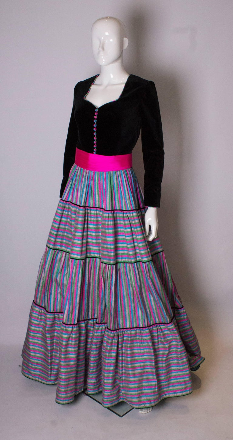 Gray Vintage Velvet and Silk Gown by Regamus London For Sale