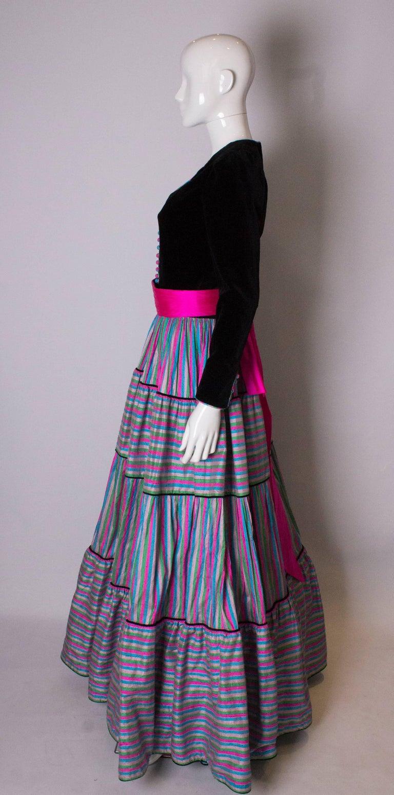 Women's Vintage Velvet and Silk Gown by Regamus London For Sale