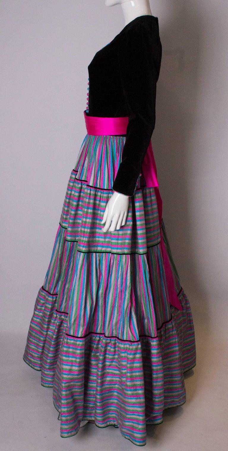 Vintage Velvet and Silk Gown by Regamus London For Sale 1