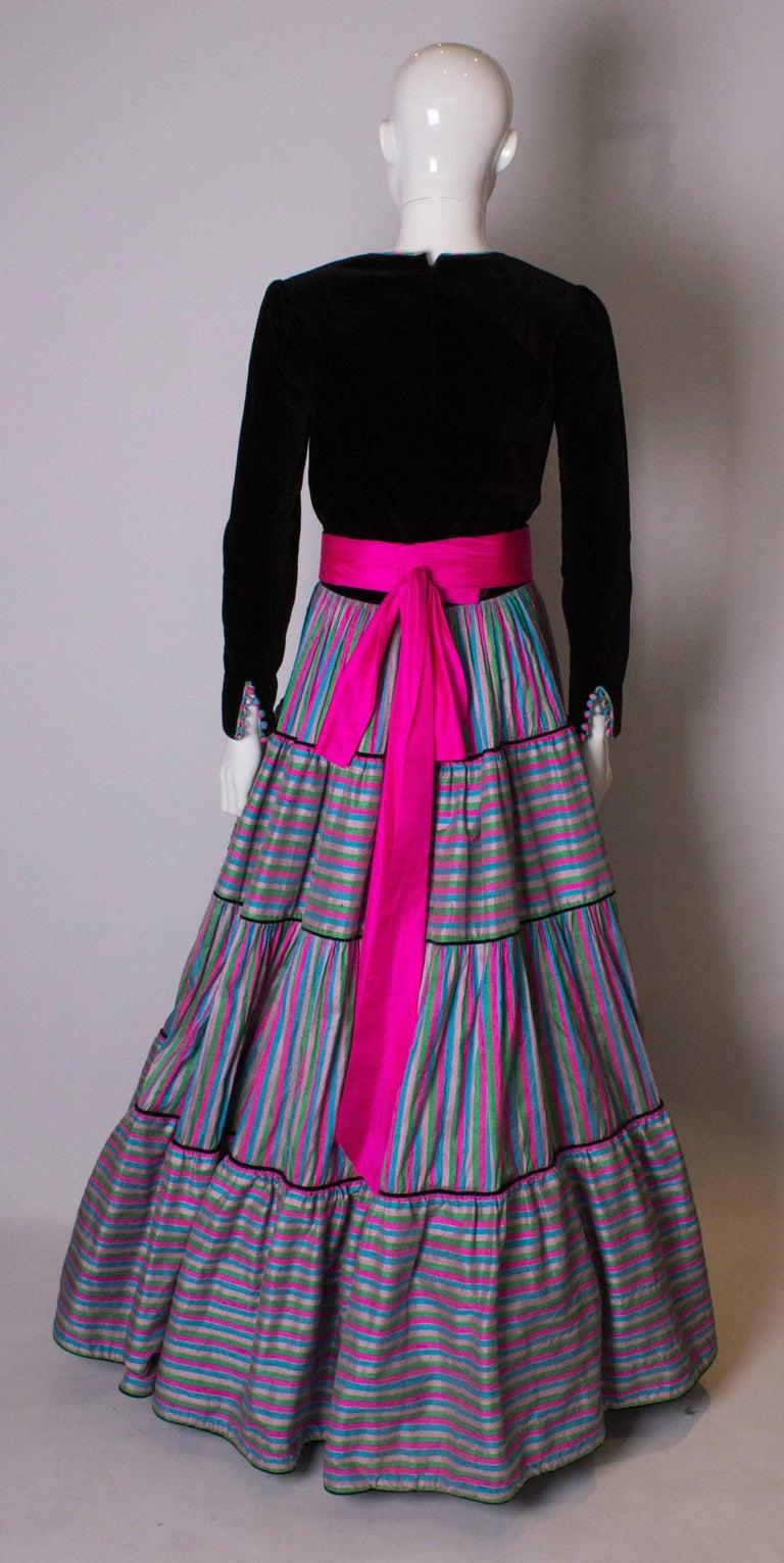 Vintage Velvet and Silk Gown by Regamus London For Sale 2