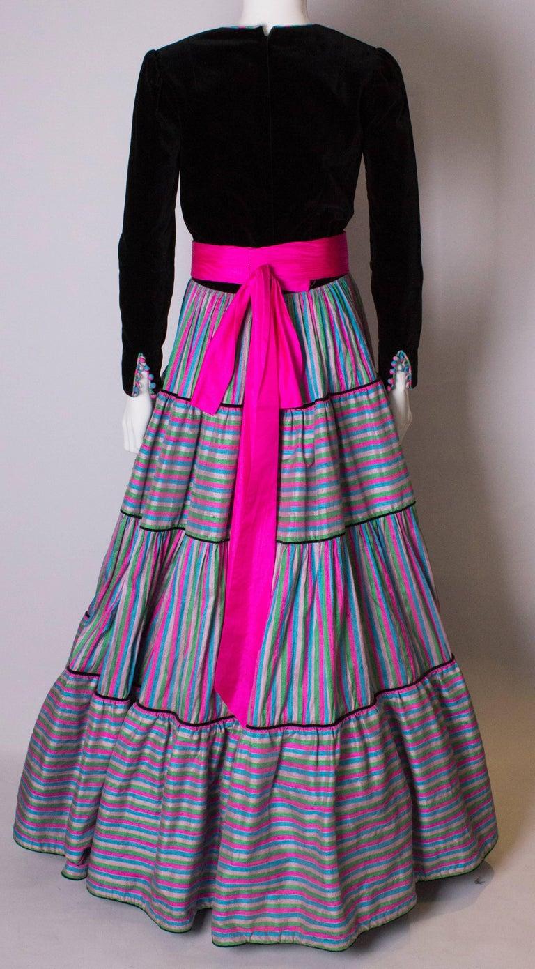 Vintage Velvet and Silk Gown by Regamus London For Sale 3