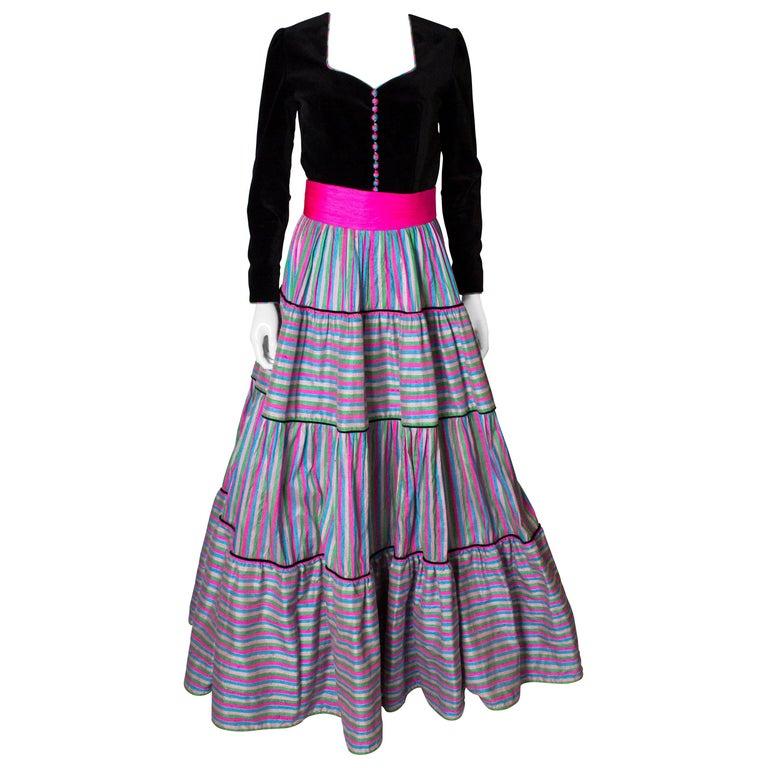 Vintage Velvet and Silk Gown by Regamus London For Sale