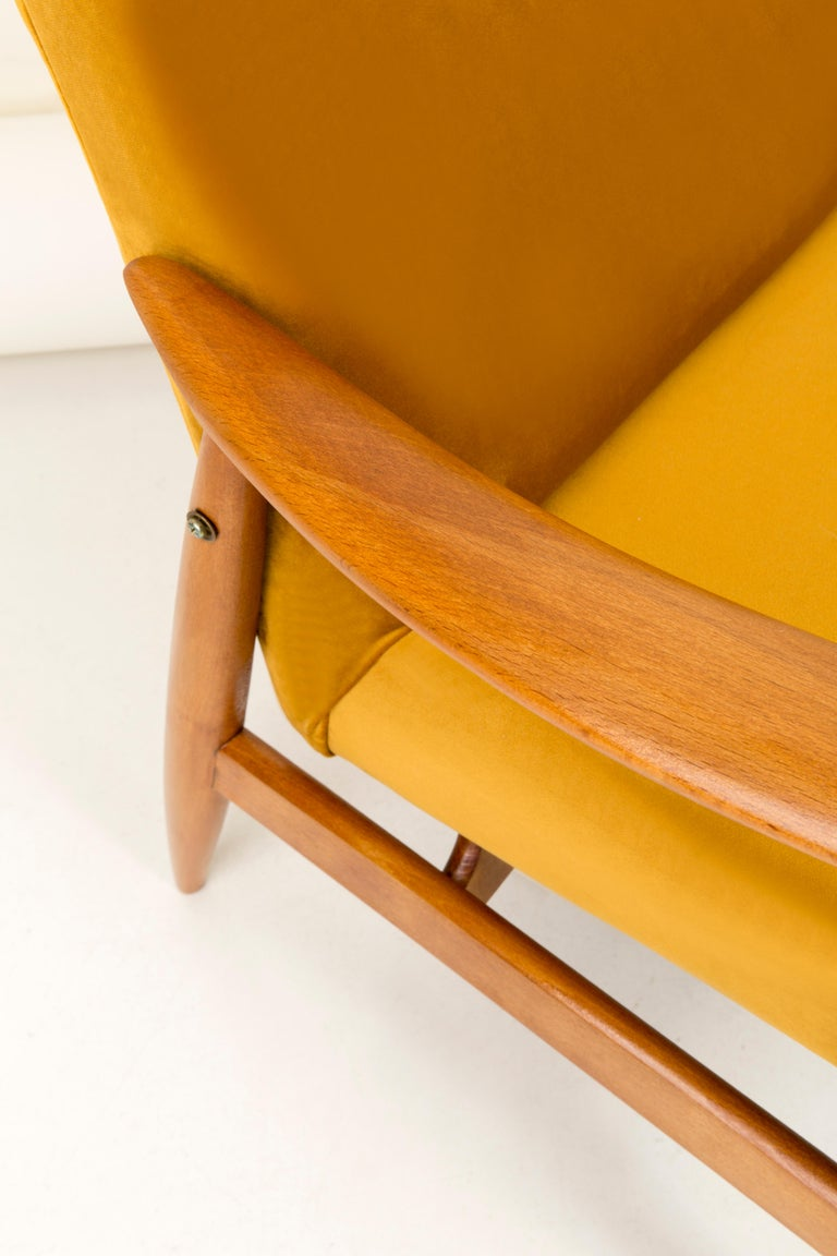 Polish Vintage Velvet Mustard Yellow Pantone Armchair, 1960s For Sale