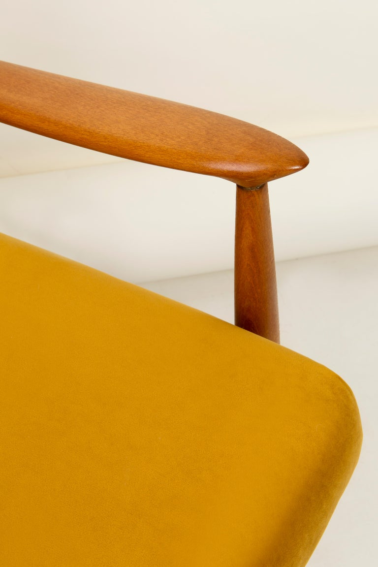 Hand-Crafted Vintage Velvet Mustard Yellow Pantone Armchair, 1960s For Sale