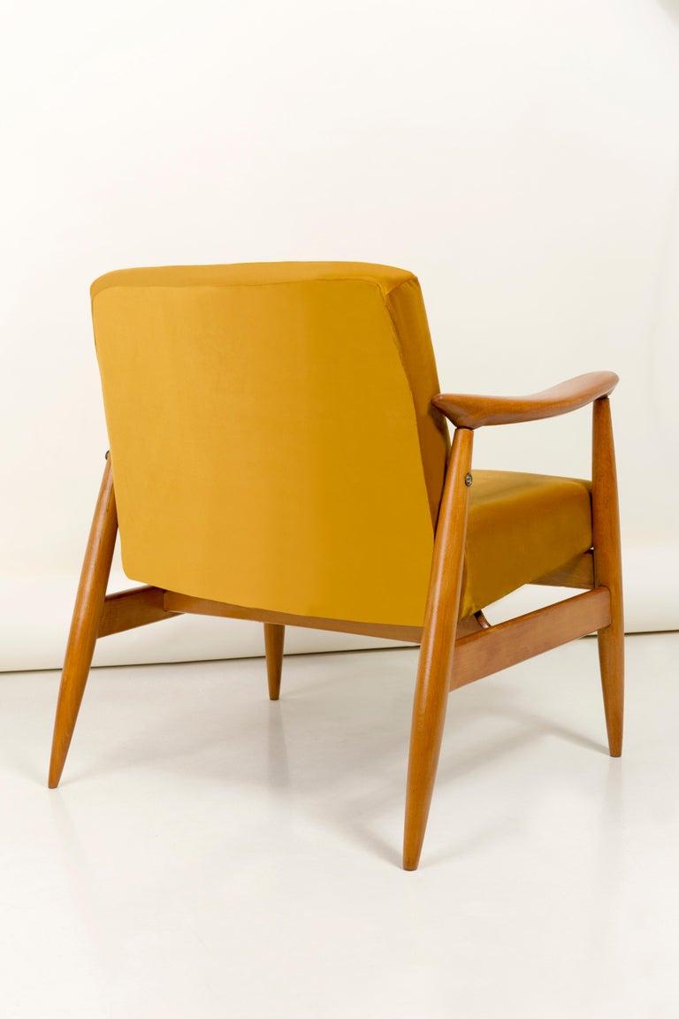 20th Century Vintage Velvet Mustard Yellow Pantone Armchair, 1960s For Sale