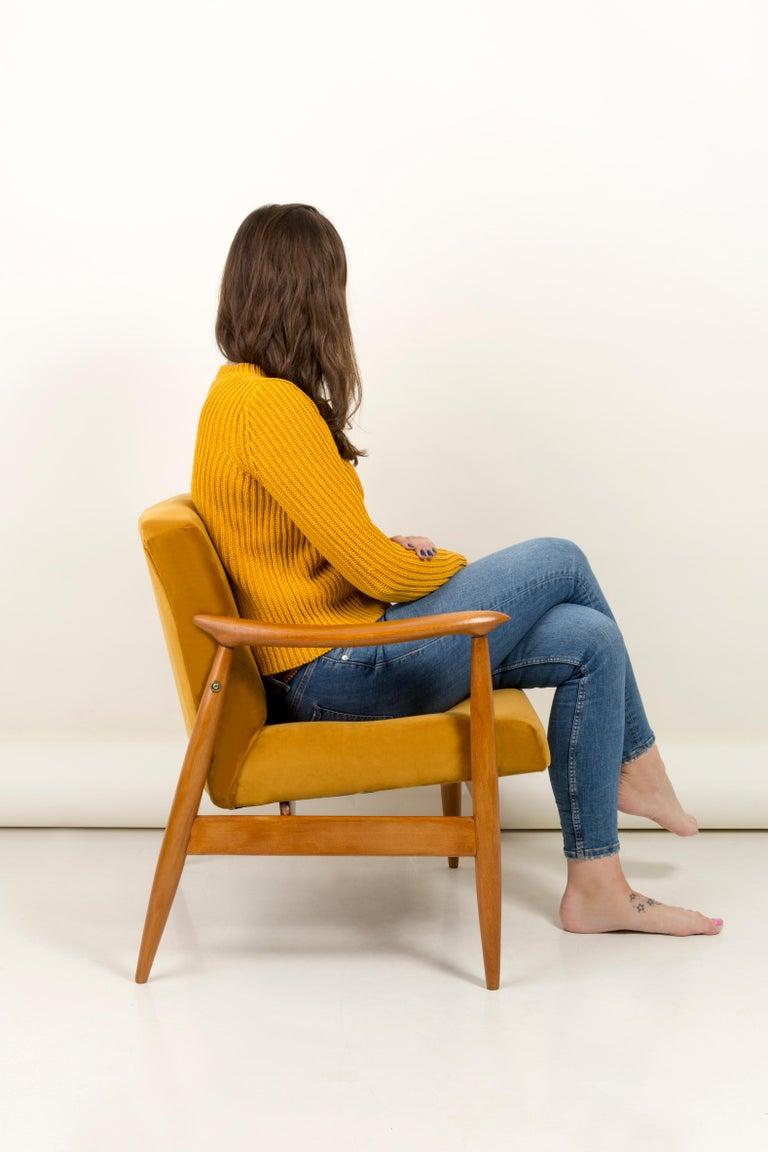 Textile Vintage Velvet Mustard Yellow Pantone Armchair, 1960s For Sale