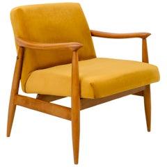 Vintage Velvet Mustard Yellow Pantone Armchair, 1960s