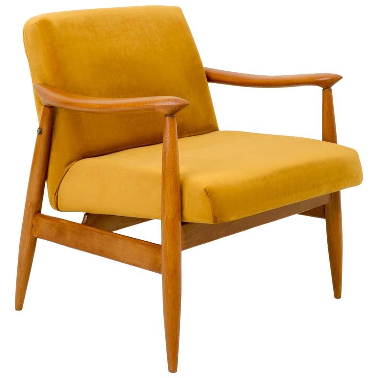 Vintage Velvet Mustard Yellow Pantone Armchair, 1960s For Sale