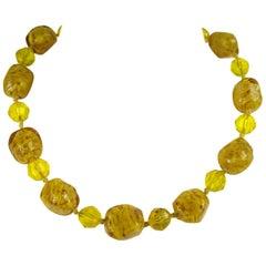 Vintage Venetian Art Gold Foil Glass Bead Necklace 1940s