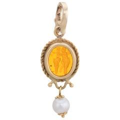 Vintage Venetian Glass Cherub Pendant 14 Karat Gold Cultured Pearl Jewelry