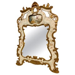 Vintage Venetian Hand Painted Trumeau Gilt Decorated Wall Mirror