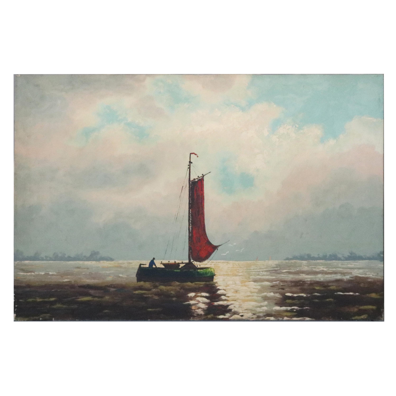 Vintage Venetian Harbor Scene Oil on Canvas Painting, 20th Century