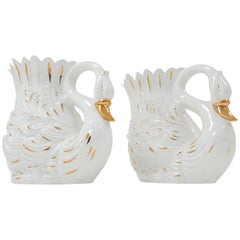 Vintage Venetian Life Size Swan Vessels by Bassano, Italy