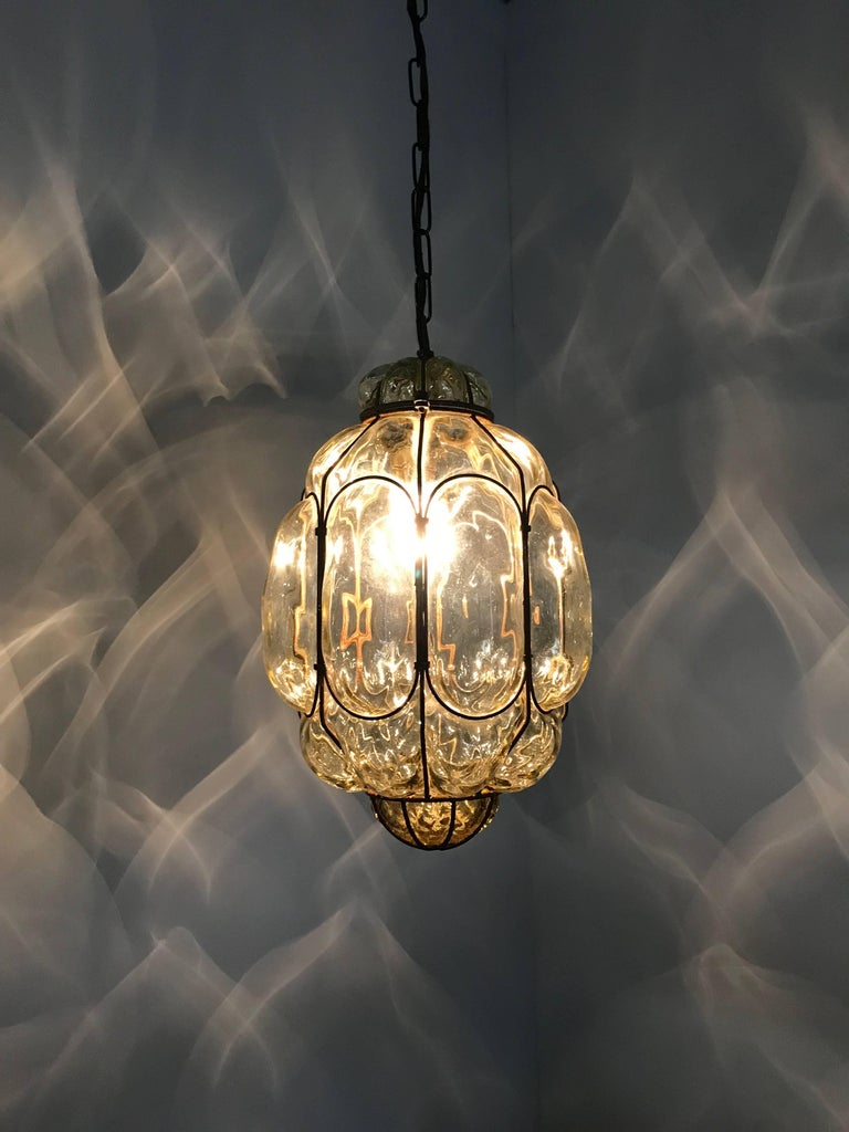 Vintage Venetian Mouth Blown Glass in Metal Frame Pendant Light / Fixture For Sale 5