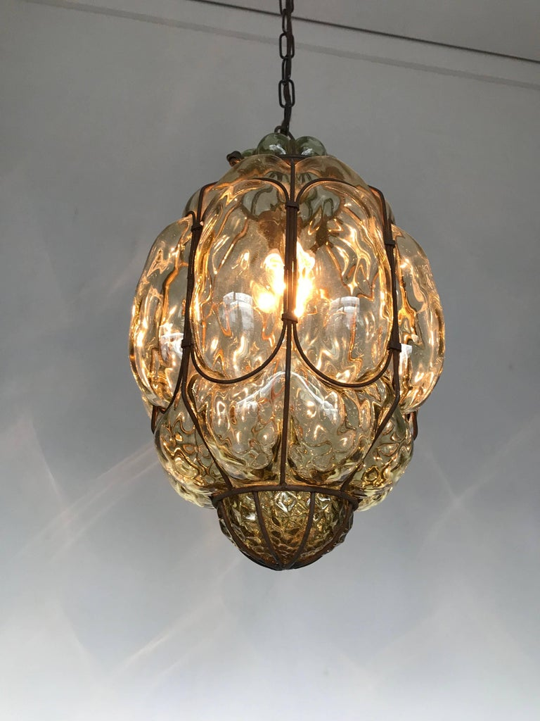 Vintage Venetian Mouth Blown Glass in Metal Frame Pendant Light / Fixture For Sale 7