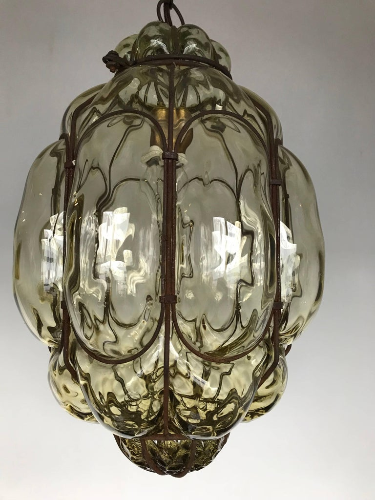 Vintage Venetian Mouth Blown Glass in Metal Frame Pendant Light / Fixture For Sale 8