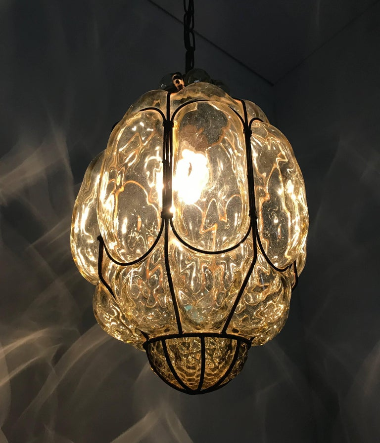 Vintage Venetian Mouth Blown Glass in Metal Frame Pendant Light / Fixture For Sale 9