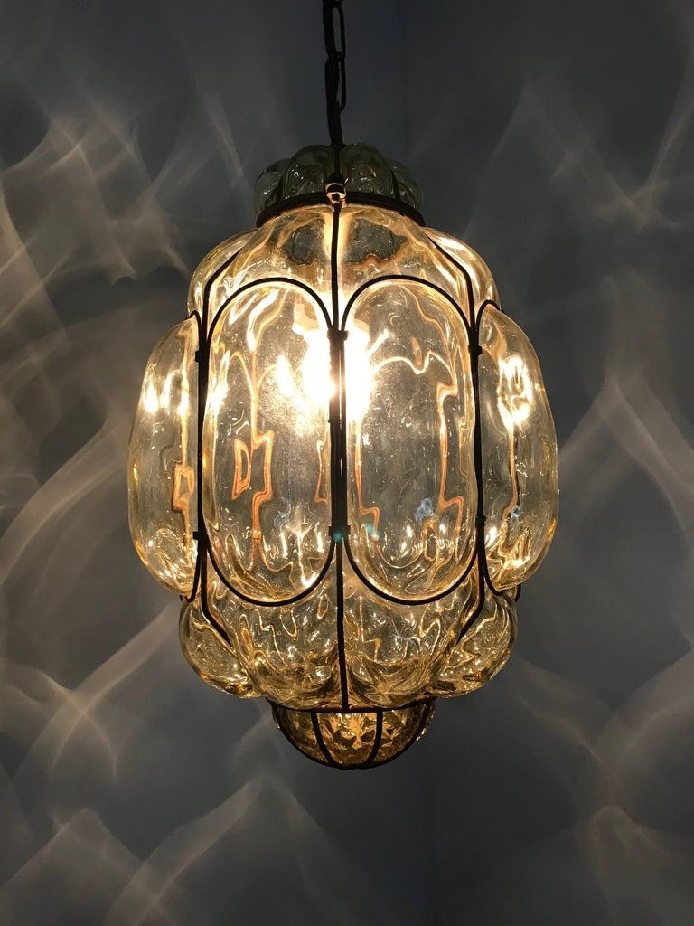 Vintage Venetian Mouth Blown Glass in Metal Frame Pendant Light / Fixture For Sale 10
