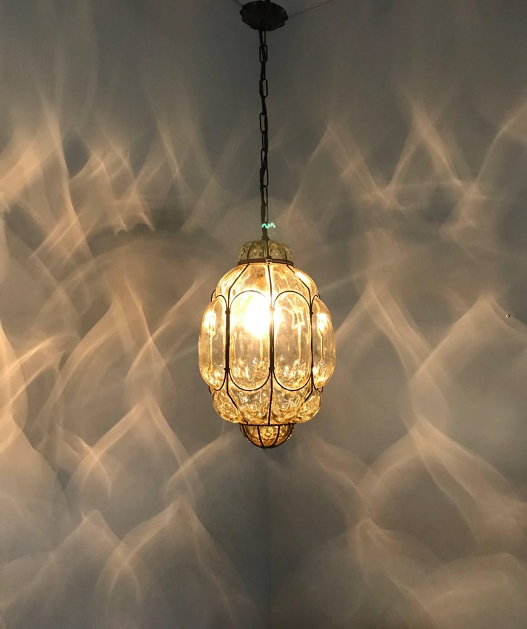 Vintage Venetian Mouth Blown Glass in Metal Frame Pendant Light / Fixture For Sale 11