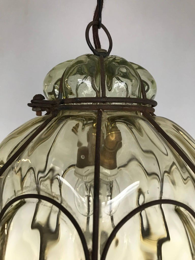 Hand-Crafted Vintage Venetian Mouth Blown Glass in Metal Frame Pendant Light / Fixture For Sale