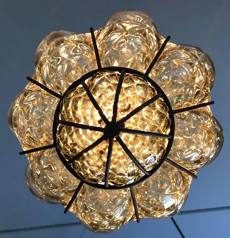 20th Century Vintage Venetian Mouth Blown Glass in Metal Frame Pendant Light / Fixture For Sale