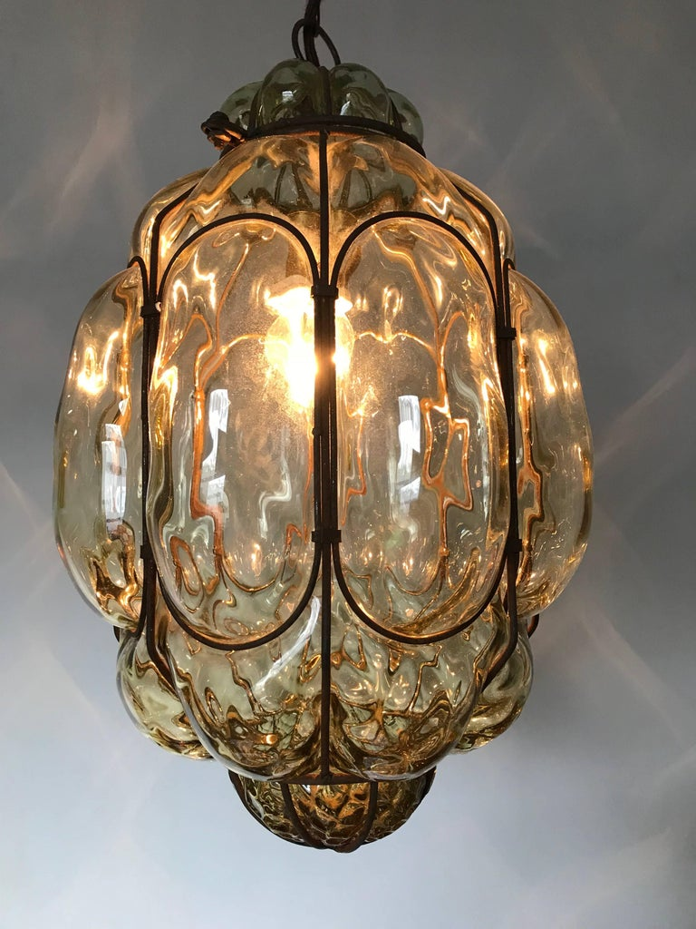 Vintage Venetian Mouth Blown Glass in Metal Frame Pendant Light / Fixture For Sale 1