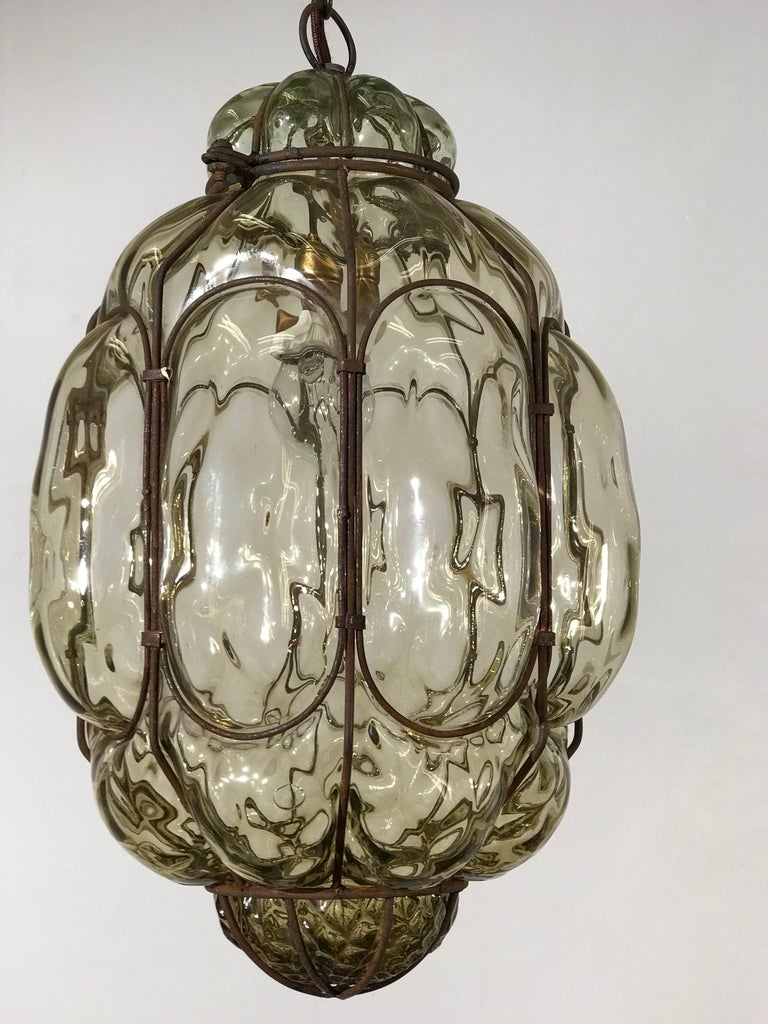 Vintage Venetian Mouth Blown Glass in Metal Frame Pendant Light / Fixture For Sale 2