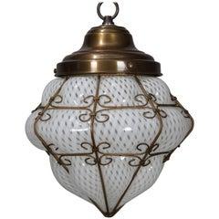 Vintage Venetian Mouth Blown Opalescent Art Glass & Bronze Pendant Light