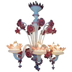 Vintage Venetian/Murano Glass Chandelier, 6 Arm