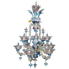 Vintage Venetian or Murano Glass Chandelier, 9-Arm