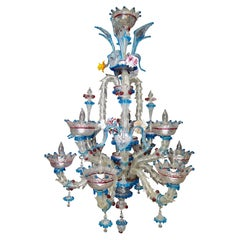 Vintage Venetian or Murano Glass Chandelier, 9-Arm
