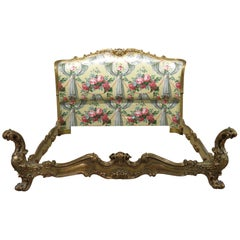 Gilded Italian Antique Rococo Carved Venetian Style Bed
