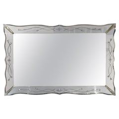 Vintage Venetian Style Mirror with Beveled Scalloped Edge
