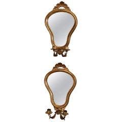 Vintage Venetian Style Mirrored Giltwood Candle Wall Sconces, 20th Century, Pair