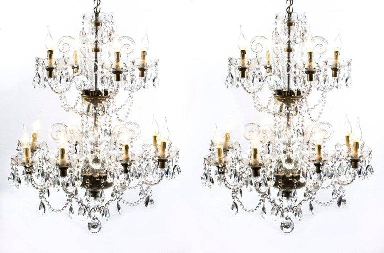 Vintage Venetian Two-Tier 12-Light Crystal Chandelier For Sale 8