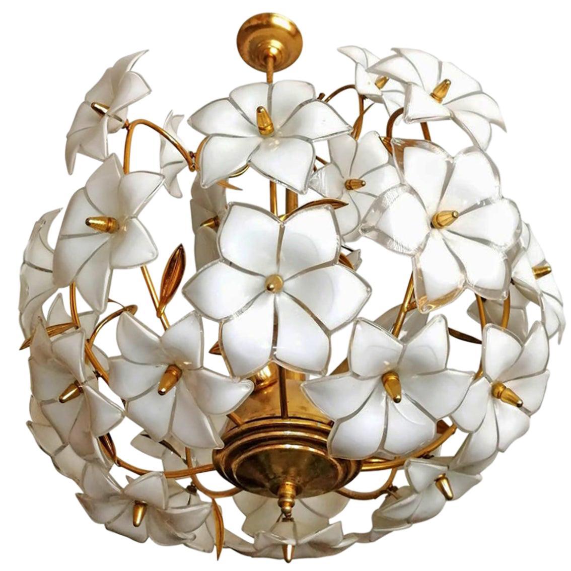 Italian Modernist Murano Art Glass Flower & Gilt Brass Venini Style Chandelier