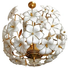 Italian Modernist Murano Art Glass Flower & Gilt Brass Venini Style Chandelier