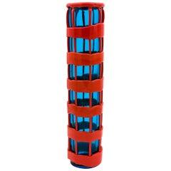 Vintage Venini Murano Fulvio Bianconi Huge Red and Blue Glass Vase