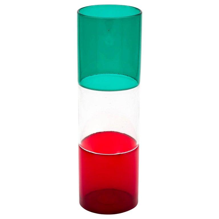 Vintage Venini Murano Fulvio Bianconi Incalmo Mouth Blown Glass Vase For Sale