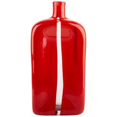 Vintage Venini Murano Red Bottle Mouth Blown Glass Vase by Toni Zuccheri
