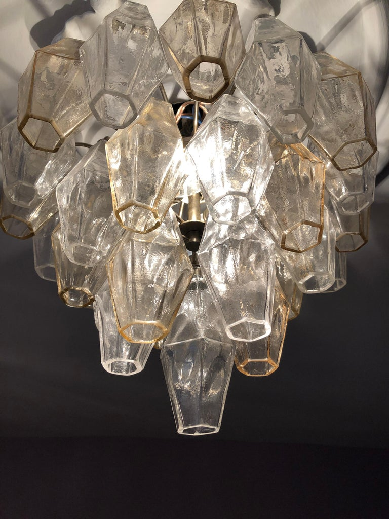 Vintage Venini Polyhedral Chandelier in Clear and Smoked Glass, Italy, 1960s For Sale 6