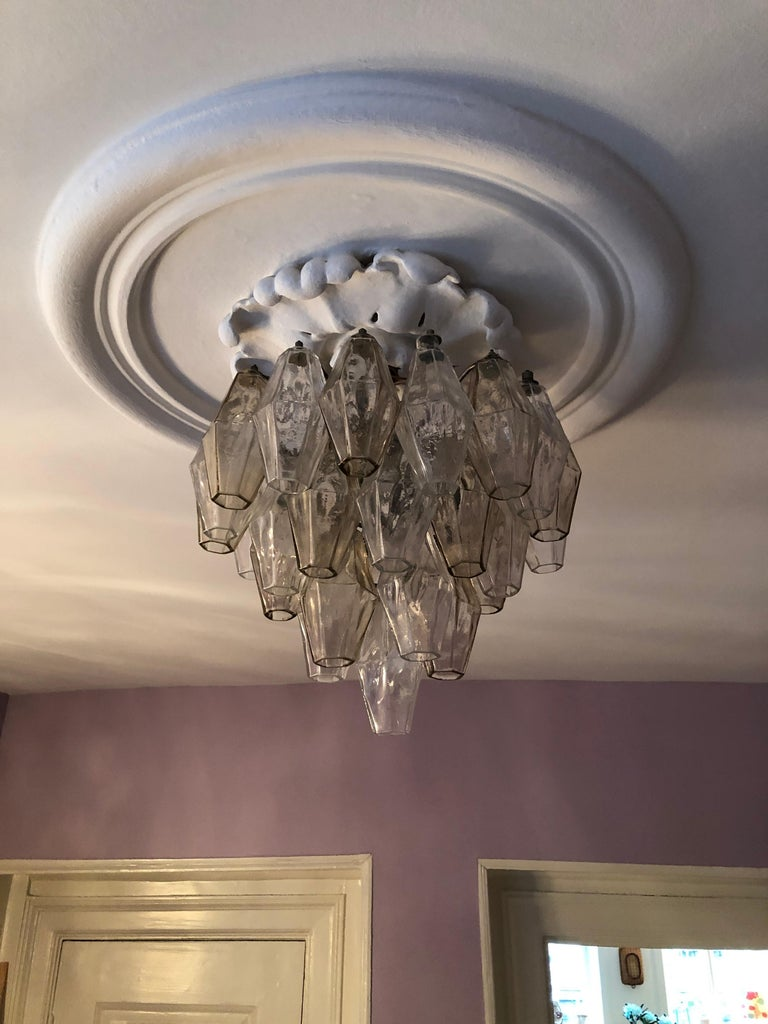 Italian Vintage Venini Polyhedral Chandelier in Clear and Smoked Glass, Italy, 1960s For Sale